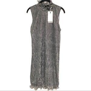 ENDLESS ROSE Metallic Stripe Mini Dress (S)